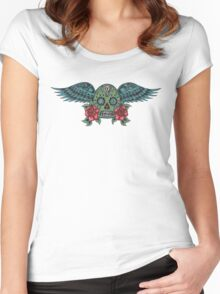 Flying Sugar Skull Women's Fitted Scoop T-Shirt