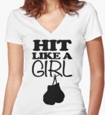 Hit Like a Girl Boxing Women's Fitted V-Neck T-Shirt