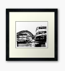 Sydney harbour bridge and ferries Framed Print