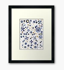 Indigo Flower Mashup Framed Print