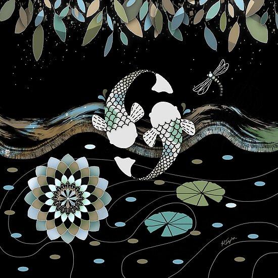 Lucky Koi Mandala by Karin Taylor
