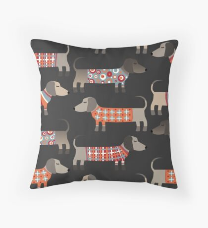 Sausage Dogs in Sweaters Dark Throw Pillow