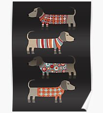 Sausage Dogs in Sweaters Dark Poster