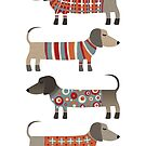 Sausage Dogs in Sweaters by Nic Squirrell