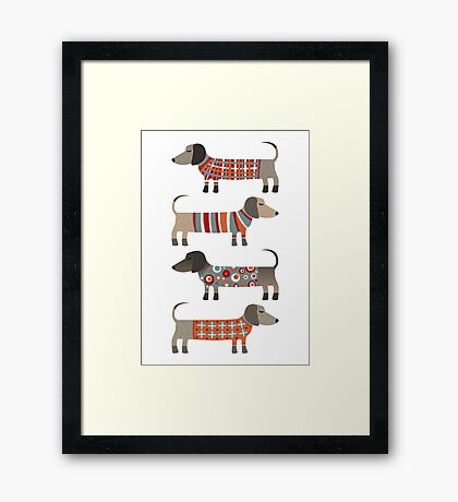 Sausage Dogs in Sweaters Framed Print