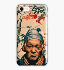Crane bird & old man iPhone Case/Skin