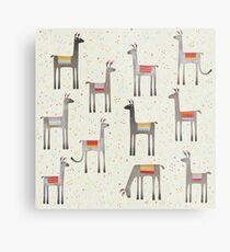 Llamas in the Meadow Metal Print