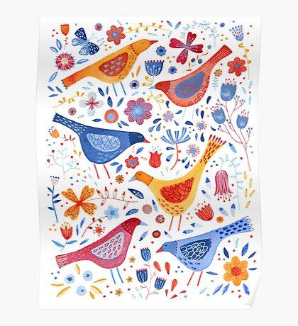 Birds in a Garden Poster