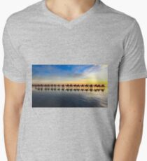 Row of camels walking on Cable Beach at sunset Mens V-Neck T-Shirt