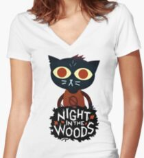 night in the woods Women's Fitted V-Neck T-Shirt