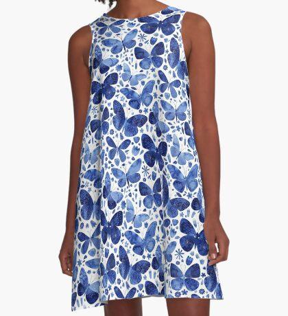 Blue Butterflies A-Line Dress