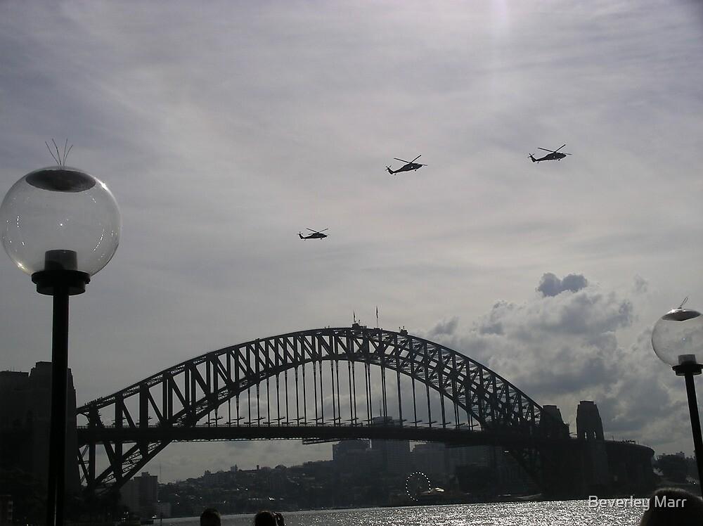 Black Hawk Helicopters, Sydney Harbour Bridge by Beverley Esposito-Marr