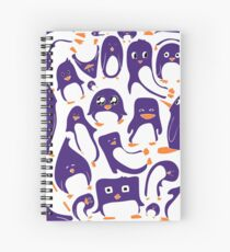 Purple Penguin Party Spiral Notebook