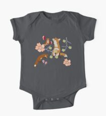Fox in flowers Short Sleeve Baby One-Piece