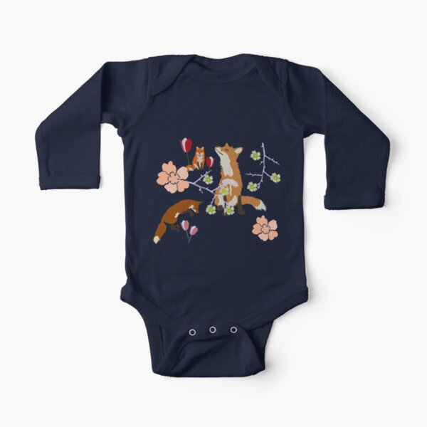 Fox in flowers Long Sleeve Baby One-Piece
