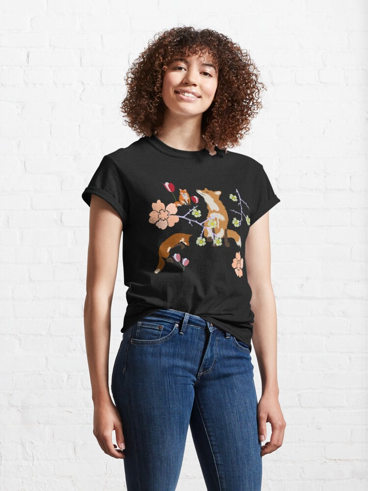 Alternate view of Fox in flowers Classic T-Shirt