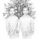 twin brothers 1975 drawing by Mike Theuer