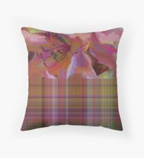 Posies and Plaid Throw Pillow