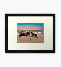 Lifeguard Rescue Vehicle Down by the Ocean Framed Print