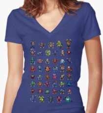 MegaMan 1to6 Robot Masters Women's Fitted V-Neck T-Shirt