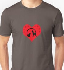 cat and dog logo syle joined by the tails ,on a big red heart and purrfect written on it Unisex T-Shirt