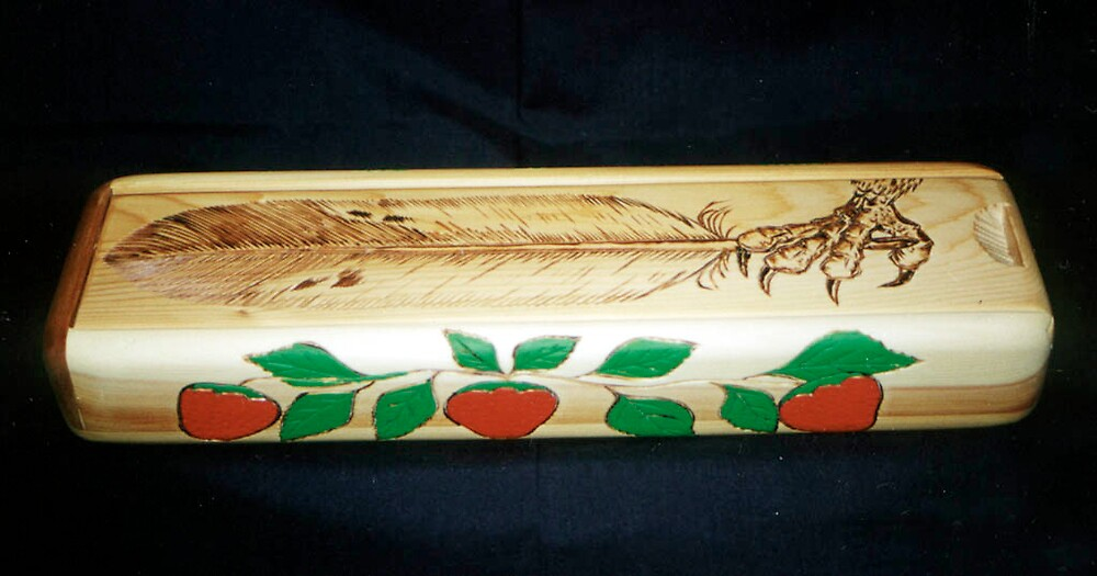 red and white cedar eagle feather box by shkaabewis06