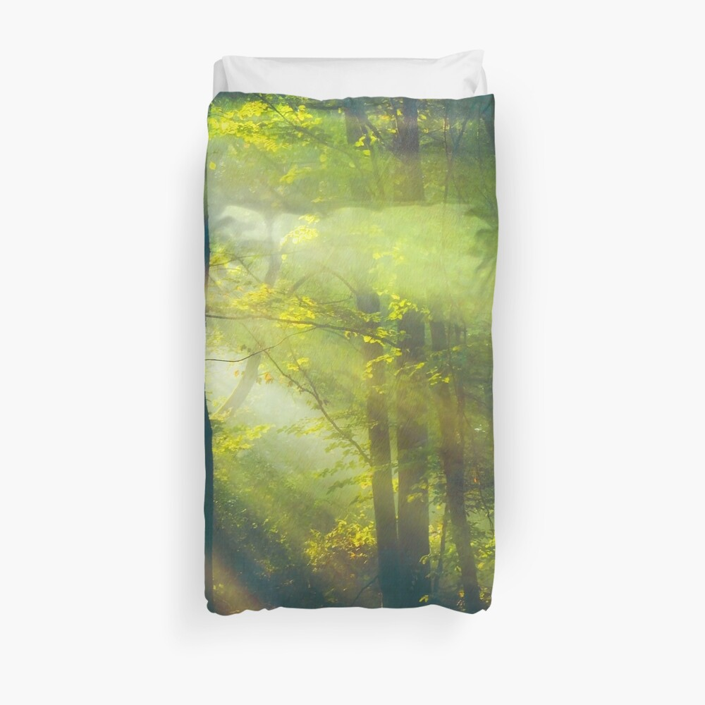 Sun Rays in Forest Duvet Cover