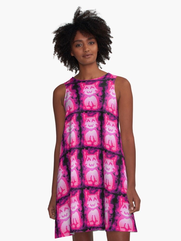 Stained Glass Kitty (pink) A-Line Dress Front