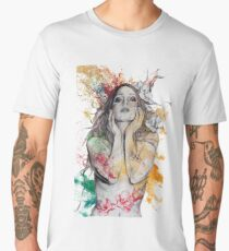 The Withering Spring (magnolia flower girl, erotic nude portrait) Men's Premium T-Shirt