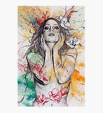 The Withering Spring (magnolia flower girl, erotic nude portrait) Photographic Print