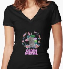 Happy Unicorn - Death Metal Women's Fitted V-Neck T-Shirt