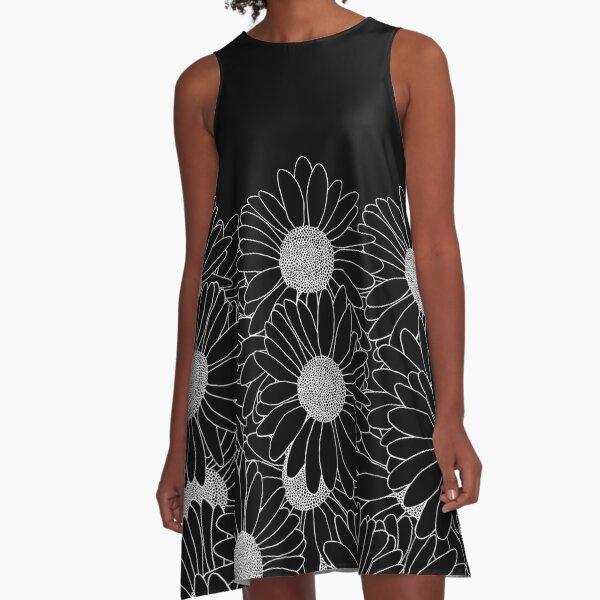 Daisy Boarder Black A-Line Dress