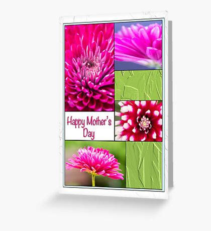 Happy Mother's Day Chrysanthemums And Dahlia Greeting Card