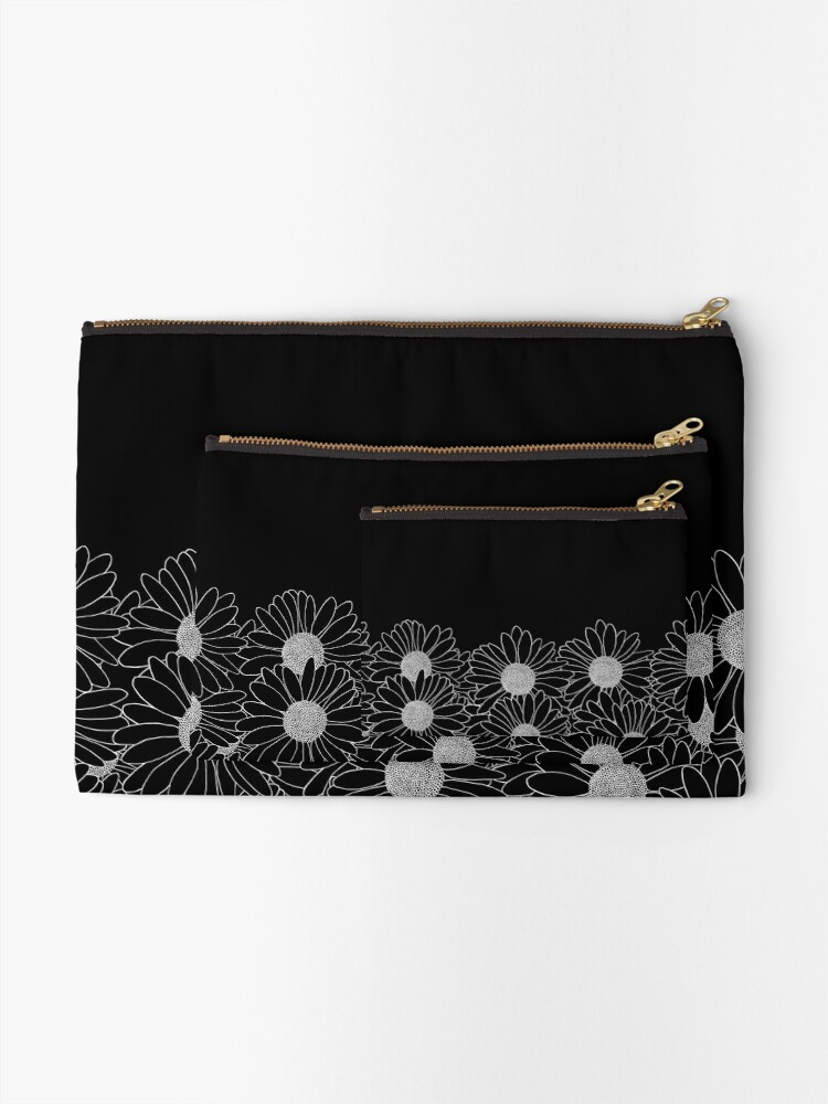 Alternate view of Daisy Boarder Black Zipper Pouch