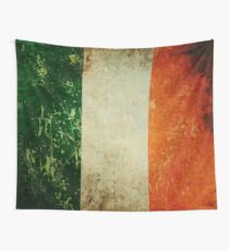 Grunge Scratched Metal Irish Flag Wall Tapestry