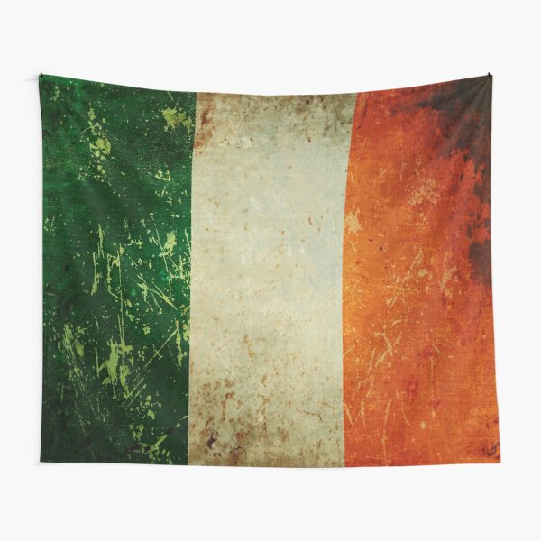 Grunge Scratched Metal Irish Flag Tapestry