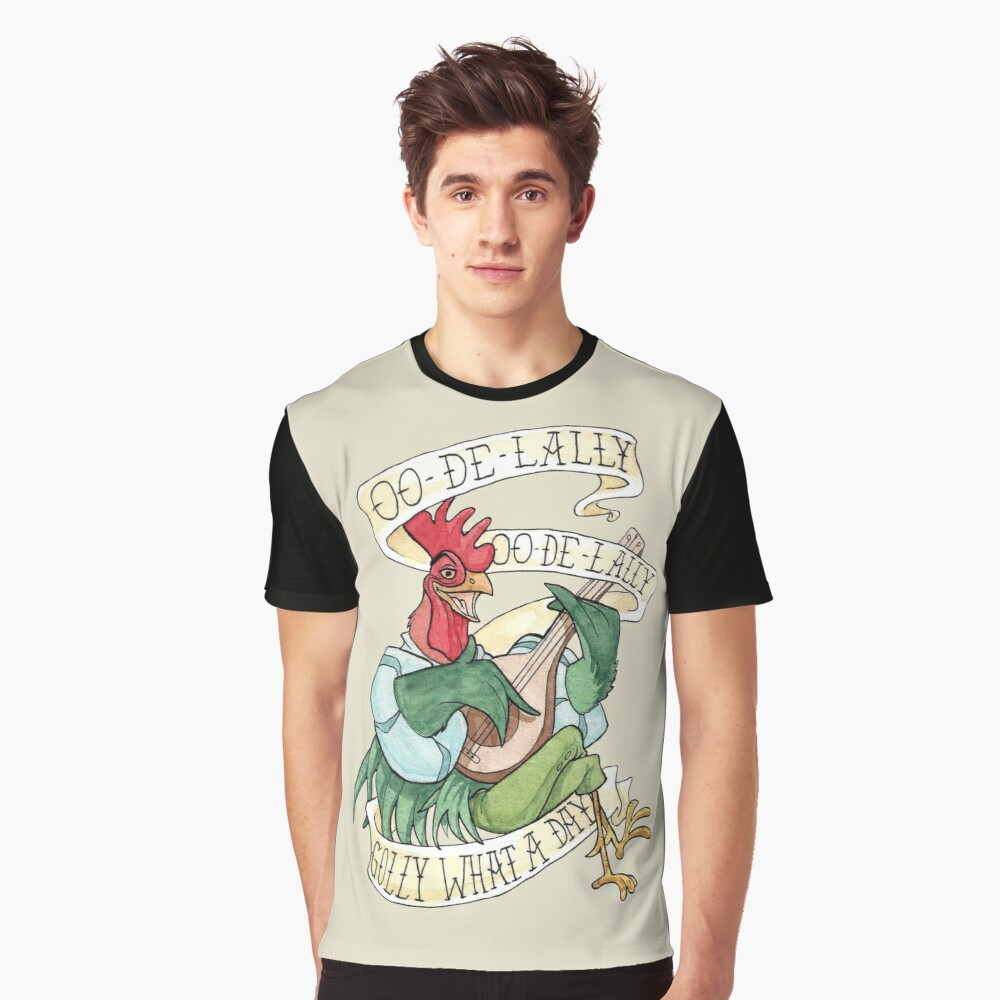 Alan-A-Dale Rooster : OO-De-Lally Golly What A Day Tattoo Watercolor Painting Robin Hood Graphic T-Shirt