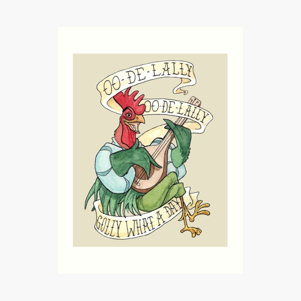 Alan-A-Dale Gallo: OO-De-Lally Golly Qué día tatuaje Acuarela Robin Hood Lámina artística