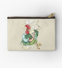 Alan-A-Dale Rooster : OO-De-Lally Golly What A Day Tattoo Watercolor Painting Robin Hood Studio Pouch