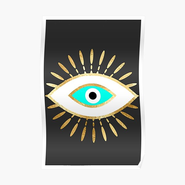 hamsa evil eye gold foil print Poster
