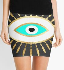hamsa evil eye gold foil print Mini Skirt