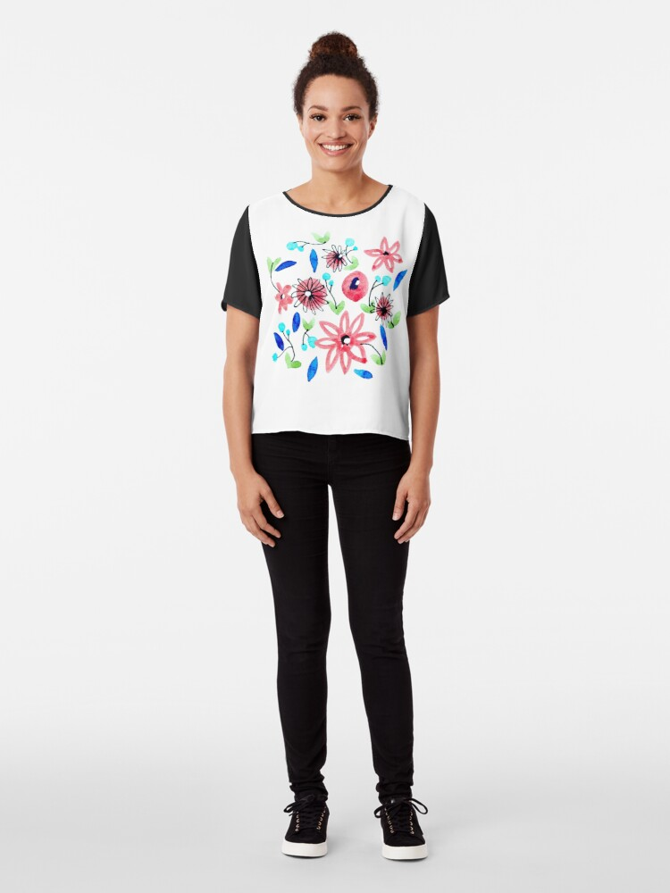 Alternate view of Watercolor Flowers Pattern Chiffon Top