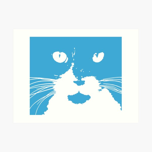 """Cat Print/My Patch"" Blue and White Cat Feline Face Graphic Design - Jenny Meehan  Art Print"