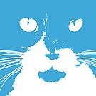"""""""Cat Print/My Patch"""" Blue and White Cat Feline Face Graphic Design - Jenny Meehan  by Jenny Meehan"""