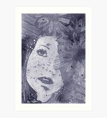 Lack Of Interest: Silver (graffiti spray paint portrait, girl with daisies) Art Print