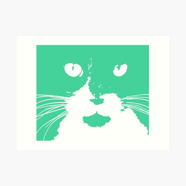 Cat Print/My Patch Turquoise Feline Face Abstract  Design - Jenny Meehan Art Print