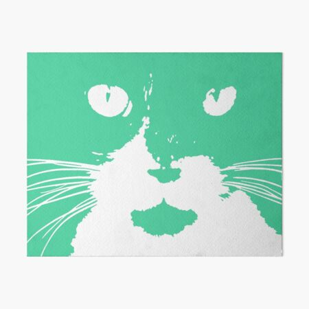 Cat Print/My Patch Turquoise Feline Face Abstract  Design - Jenny Meehan Art Board Print