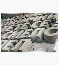 Cyrillic alphabet letters concrete Poster
