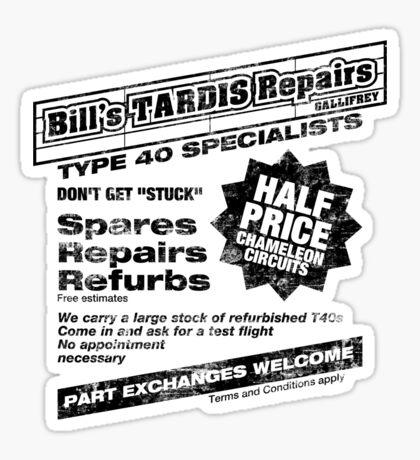 Bill's Tardis Repairs Sticker