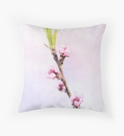 Spring at Last - Lovely Peach Blossoms Throw Pillow
